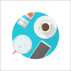 Flat vector icon for break table