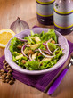 salad with avocado lettuce beans and onions