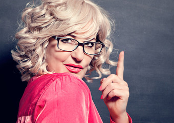 pointing girl with glasses - business rocks 13