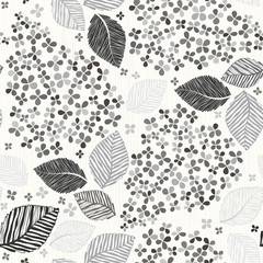 Monochrome seamless pattern with lilac flowers. Vector illustrat