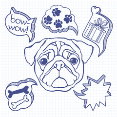 Dog and his dreams. Humorous vector illustration. Doodle sketch
