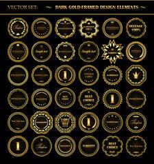 Set of dark gold-framed design elements.