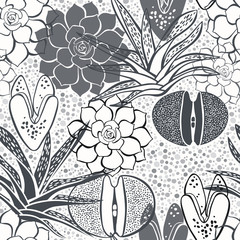 Monochrome seamless pattern with succulents.