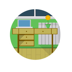 Flat vector icon for desk in room