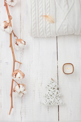 White collection of winter or Christmas decorations