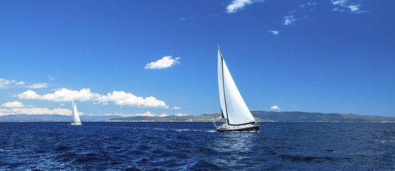Panorama of sailing regatta. Luxury yachts.