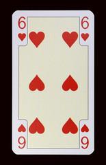 Spielkarten der Ladys - Herz Sechs