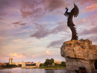 Beautiful Sunset With Keeper Of The Plains In Wichita Kansas