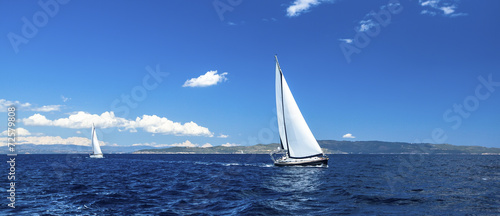 Panorama of sailing regatta. Luxury yachts. - 72579808