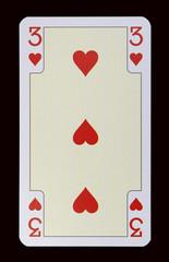 Spielkarten der Ladys - Herz Drei