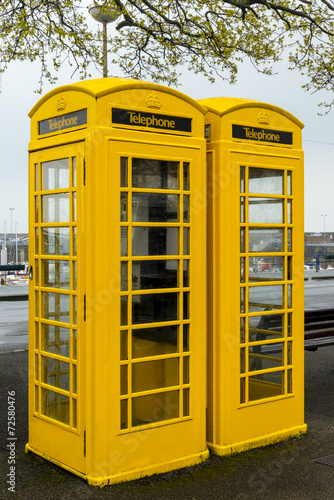 Yellow Guernsey Phone Boxes
