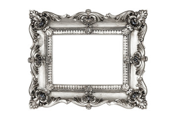 Old antique silver picture frames. Isolated on white background