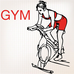 illustration of young women on stationary bikes exercising in th