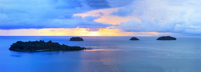 panorama of sun set sky at koh chang island trat province import