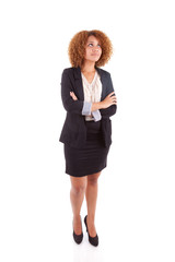 Portrait of a young african american business woman looking up -
