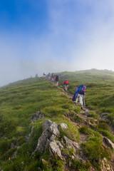 Hiker group trekking in Chamonix Mont blanc in France