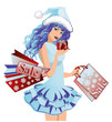 Santa girl with shopping bags , vector illustration