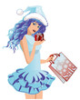 Cute Santa girl with shopping bag , vector illustration