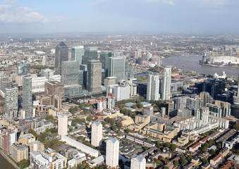 london docklands skyline view from above