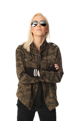 Cool looking rocker chic in a military jacket