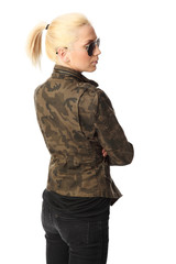Attractive woman in a military jacket