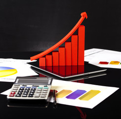 Financial graph, calculator and chart