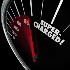 Supercharged Word Speedometer Power Boost Faster Increase