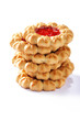 stack of  jam cookies on white background