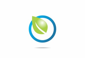 leaf, blue, globe, nature, eco, plant, logo, vector, simbol