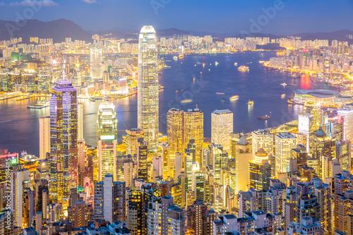 Foto op Aluminium Hong-Kong Aerial Hong Kong Skyline