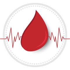 Vector of Blood and heart wave