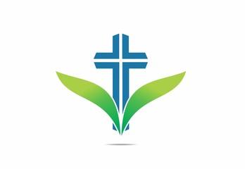 faith, cross ,wing, leaf, abstract, symbol,religius,logo,vector