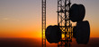 Cellular Radio Wave Communication Towers Evening Sunset Horizon - 72585032