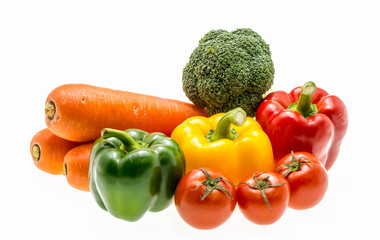 Varity of fresh vegetables on white background