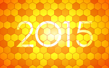 happy new year 2015 in hexagon pattern background