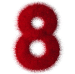 Red shag 8 number font isolated on white background
