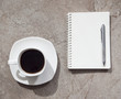 Coffee with book and Pen on Table Background