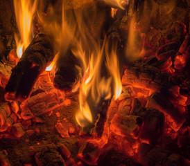 Flames coals