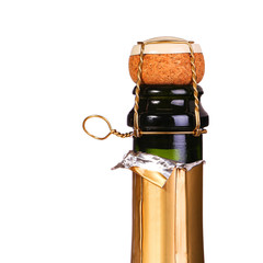 Top of champagne bottle with cork isolate on white