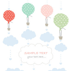 Baby arrival card with balloon and clouds greeting vector
