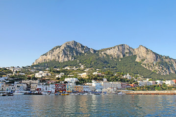 Marina Grande on the island of Capri, Italy viewed from the wate