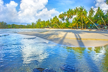 Paradise nature, sea and hotel house on the tropical beach.