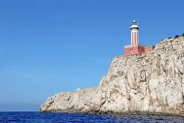 Punta Carena lighthouse on the island of Capri, Italy