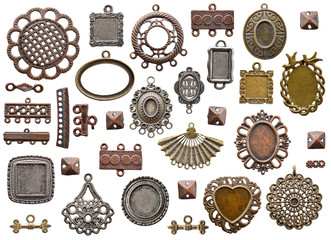 Collection of connectors and decors for jewelry.