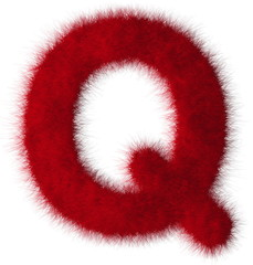 Red shag Q letter isolated on white background