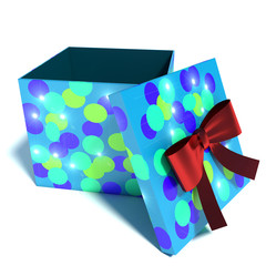 Box with gift on Christmas. 3d illustration