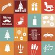Zdjęcia na płótnie, fototapety, obrazy : christmas symbols & icons in vintage colors - set 2