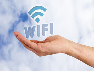hand with words wifi