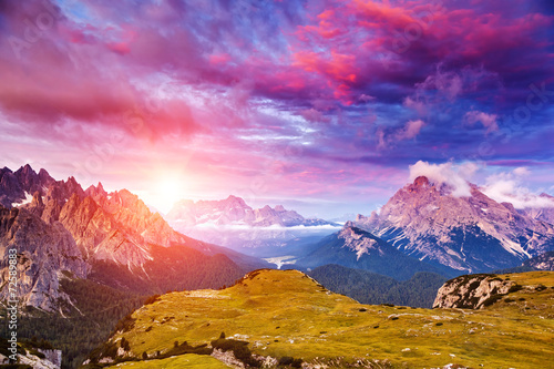 Amazing sunset in the mountains