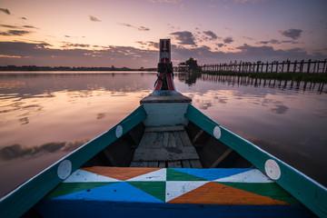 Sunset on the boat. Image taken from the U-Bein bridge  Myanmar